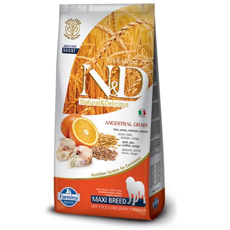 FARMINA N&D Low Ancestral Grain - CODFISH & ORANGE ADULT  Maxi - 12kg
