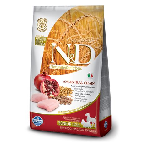 FARMINA N&D Low Ancestral Grain - CHICKEN & POMEGRANATE SENIOR  Mini & medium - 2.5kg 1