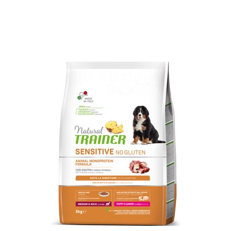 Natural TRAINER Sensitive No Gluten MediumMaxi Puppy&Junior Anatra - 3kg