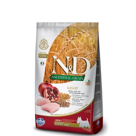 FARMINA N&D Ancestral Grain - CHICKEN & POMEGRANATE LIGHT  Mini & medium - 2.5kg