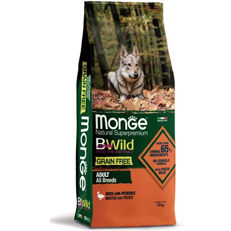 Monge B-Wild Grain Free All Breed Adult Anatra con Patate - 12kg