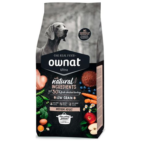 OWNAT Ultra Low Grain Adult Medium Chicken & Turckey - 14kg
