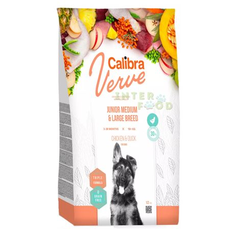 Calibra Dog Verve GF Junior Medium/Large Pollo e Anatra - 12kg