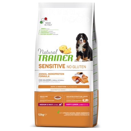 Natural TRAINER Sensitive No Gluten MediumMaxi Puppy&Junior Salmone - 12kg