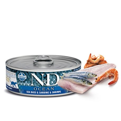 FARMINA N&D OCEAN - SEA BASS, SARDINE & SHRIMP - 12x80gr 1