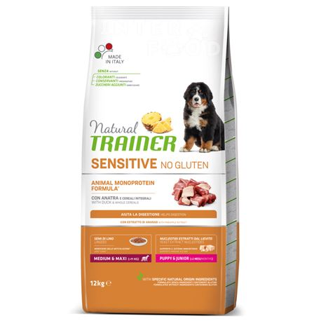 Natural TRAINER Sensitive No Gluten MediumMaxi Puppy&Junior Anatra - 12kg