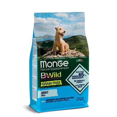 Monge B-Wild Grain Free All Breed Adult Mini Acciughe con Patate e piselli - 2,5kg