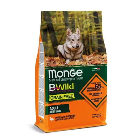 Monge B-Wild Grain Free All Breed Adult Anatra con Patate - 2,5kg
