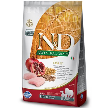 FARMINA N&D Ancestral Grain - CHICKEN & POMEGRANATE LIGHT  Medium & Maxi - 12kg