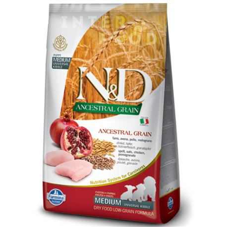 FARMINA N&D Ancestral Grain - CHICKEN & POMEGRANATE PUPPY  MEDIUM & MAXI - 12kg