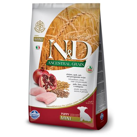 FARMINA N&D Low Ancestral Grain - CHICKEN & POMEGRANATE PUPPY  Mini - 2.5kg