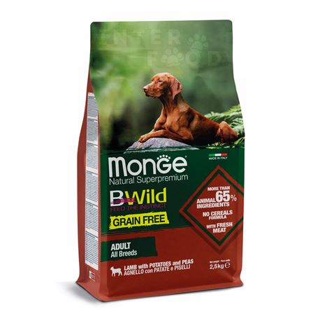 Monge B-Wild Grain Free All Breed Adult Agnello con Patate - 2,5kg