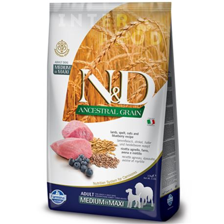 FARMINA N&D Ancestral Grain - LAMB & BLUEBERRY ADULT Medium & Maxi - 12kg