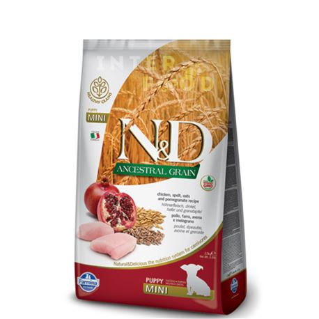 FARMINA N&D Ancestral Grain - CHICKEN & POMEGRANATE PUPPY  Mini - 2.5kg