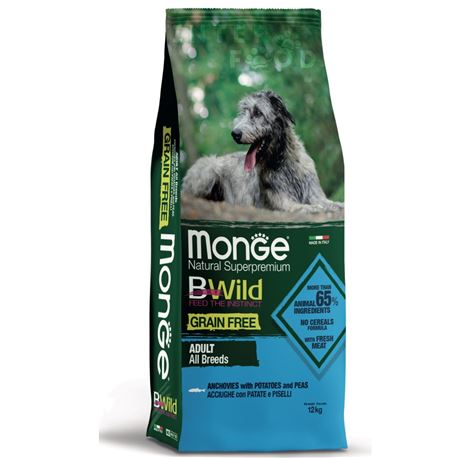 Monge B-Wild Grain Free All Breed Adult Acciughe con Patate e piselli - 12kg 1