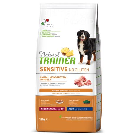 Natural TRAINER Sensitive No Gluten MediumMaxi Adult Maiale - 12kg