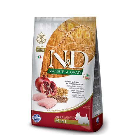 FARMINA N&D Ancestral Grain - CHICKEN & POMEGRANATE ADULT  Mini - 800gr
