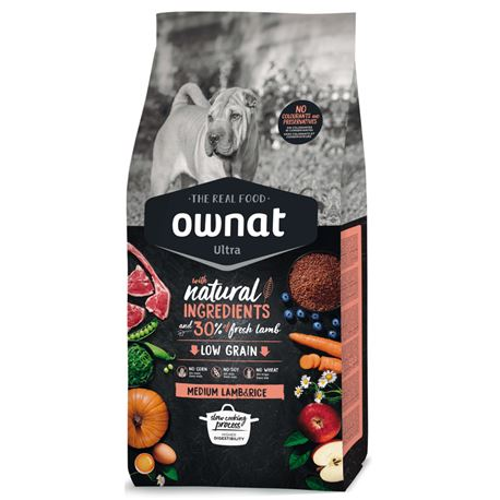 OWNAT Ultra Low Grain Adult Medium Lamb & Rice - 8kg