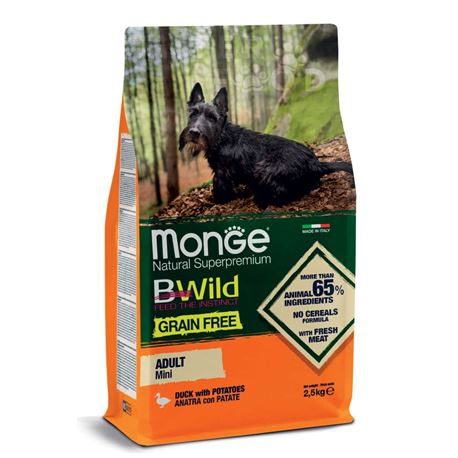 Monge B-Wild Grain Free All Breed Adult Mini Anatra con Patate - 2,5kg