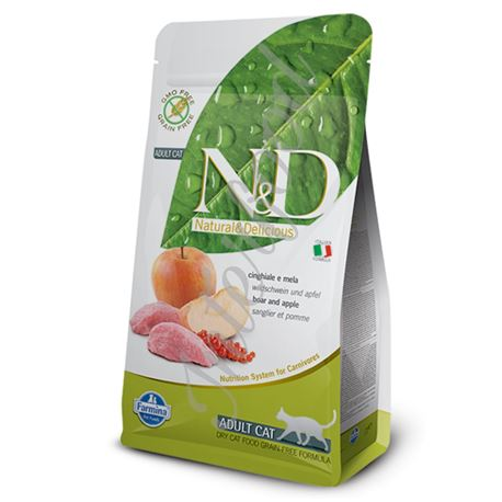 FARMINA N&D GRAIN FREE FELINE -  BOAR & APPLE ADULT - 300gr