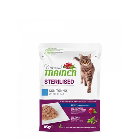 Natural TRAINER Sterilised Adult con tonno - Bocconcini in salsa - 85g