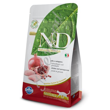 FARMINA N&D GRAIN FREE FELINE - CHICKEN & POMEGRANATE NEUTERED - 10kg 1