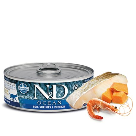 FARMINA N&D OCEAN - COD, SHRIMP & PUMPKIN - 12x80gr