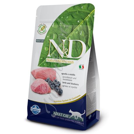 FARMINA N&D GRAIN FREE FELINE -  LAMB & BLUEBERRY ADULT - 10kg 1