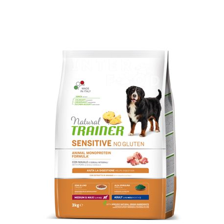 Natural TRAINER Sensitive No Gluten MediumMaxi Adult Maiale - 3kg