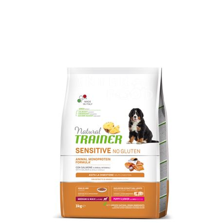 Natural TRAINER Sensitive No Gluten MediumMaxi Puppy&Junior Salmone - 3kg