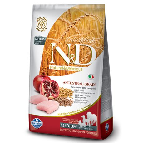 FARMINA N&D Low Ancestral Grain - CHICKEN & POMEGRANATE ADULT  Medium - 12kg