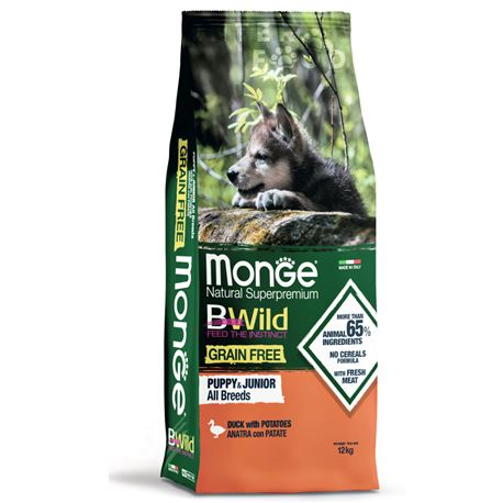 Monge B-Wild Grain Free All Breed Puppy&Junior Anatra con Patate - 12kg 1