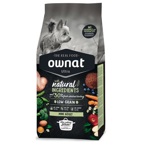 OWNAT Ultra Low Grain Adult Mini Chicken & Turckey - 3kg 1