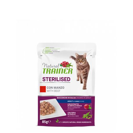 Natural TRAINER Sterilised Adult con manzo - Bocconcini in salsa - 85g