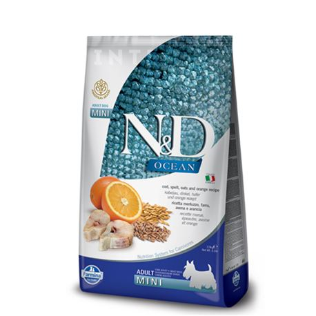 FARMINA N&D OCEAN - COD, SPELT, OATS & ORANGE ADULT  Mini - 2,5kg