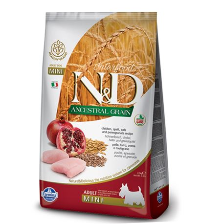 FARMINA N&D Low Ancestral Grain - CHICKEN & POMEGRANATE ADULT  Mini - 2.5kg