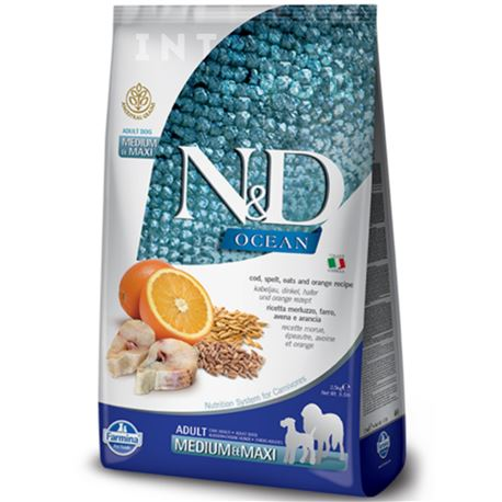 FARMINA N&D OCEAN - COD, SPELT, OATS & ORANGE ADULT  Medium & Maxi - 12kg