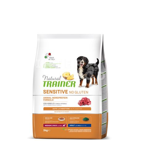 Natural TRAINER Sensitive No Gluten MediumMaxi Adult Agnello - 3kg 1