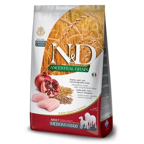 FARMINA N&D Ancestral Grain - CHICKEN & POMEGRANATE ADULT  Medium/Maxi - 12kg