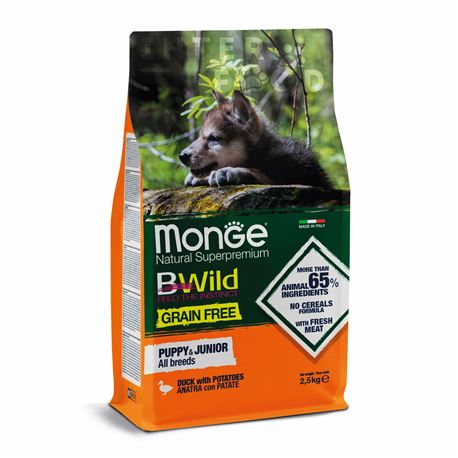 Monge B-Wild Grain Free All Breed Puppy&Junior Anatra con Patate - 2.5kg