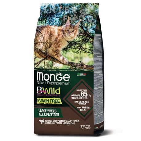 Monge BWild Grain Free Adult Large Breed Bufalo - 1,5kg