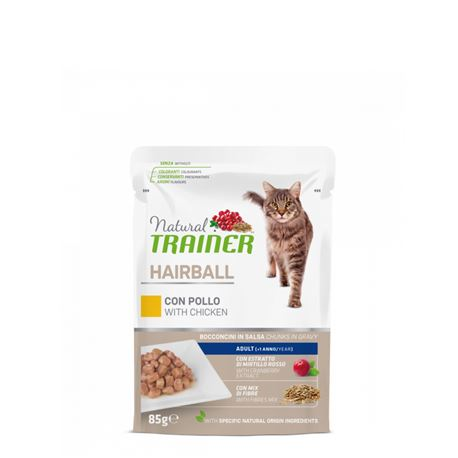 Natural TRAINER Hairball Adult con pollo - Bocconcini in salsa - 85g