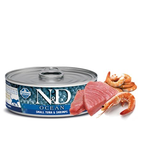 FARMINA N&D OCEAN - TUNA & SHRIMP - 12x80gr