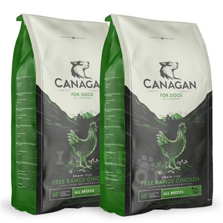 CANAGAN Free-Range Chicken - 2 x 12kg + 2 lattine + 1 biscotti