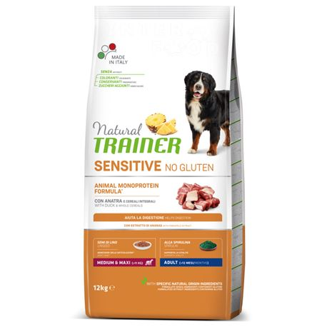 Natural TRAINER Sensitive No Gluten MediumMaxi Adult Anatra - 12kg