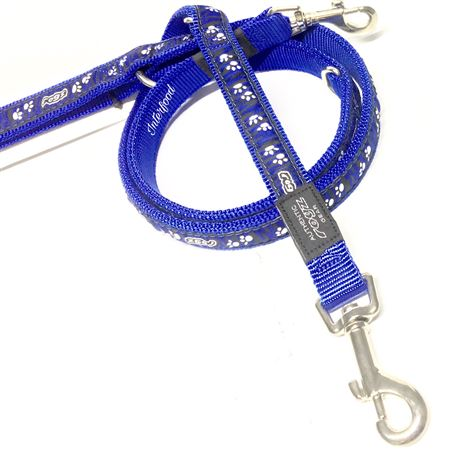 Rogz Lead Multipurpose Paws on blue zebra L