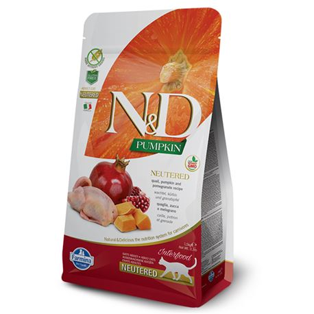 FARMINA N&D PUMPKIN FELINE - QUAIL AND POMEGRANATE NEUTERED - 1,5kg
