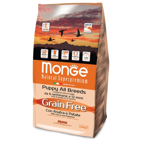 Monge Grain Free Puppy Anatra e Patate All Breeds  2.5kg 1